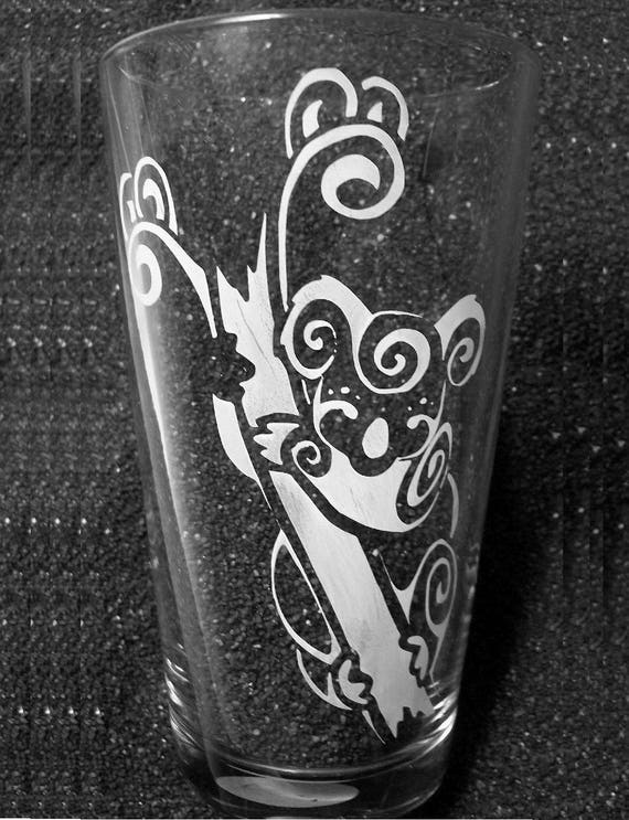 Tribal Tattoo Koala Hand Etched Pint Glass Water Glass Beer Etsy
