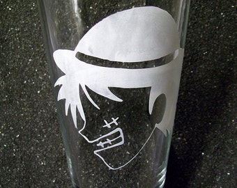 Straw Hat Pirates Luffy etched glass, pint glass, beer glass, water glass, tumbler, cup 16oz, 16 ounce