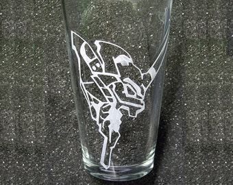 Evangelion NERV etched pint beer glass tumbler