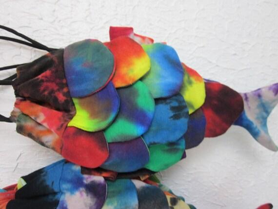 Tie Dye Patchwork Drawstring Rainbow Fish Purse