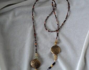 Agate and Vintage Brass Eyeglass Lanyard
