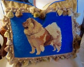 Antique Dog NEEDLEPOINT Chow 2020x2 quot Pillow Cover Velvet Wool Tassels Gorgeous Well Done