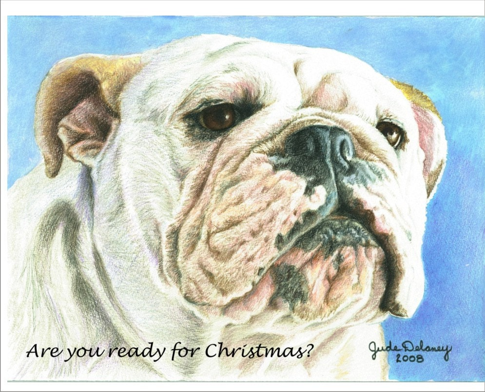 English Bulldog Christmas cards in full color | Etsy