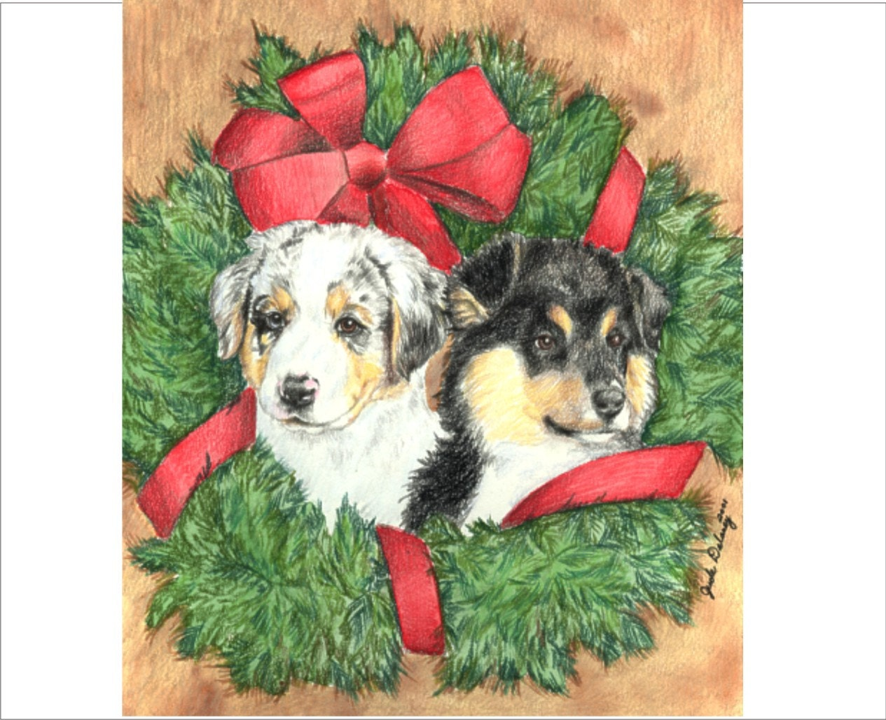 Australian Shepherd Puppy Christmas Cards Merle and Tri | Etsy