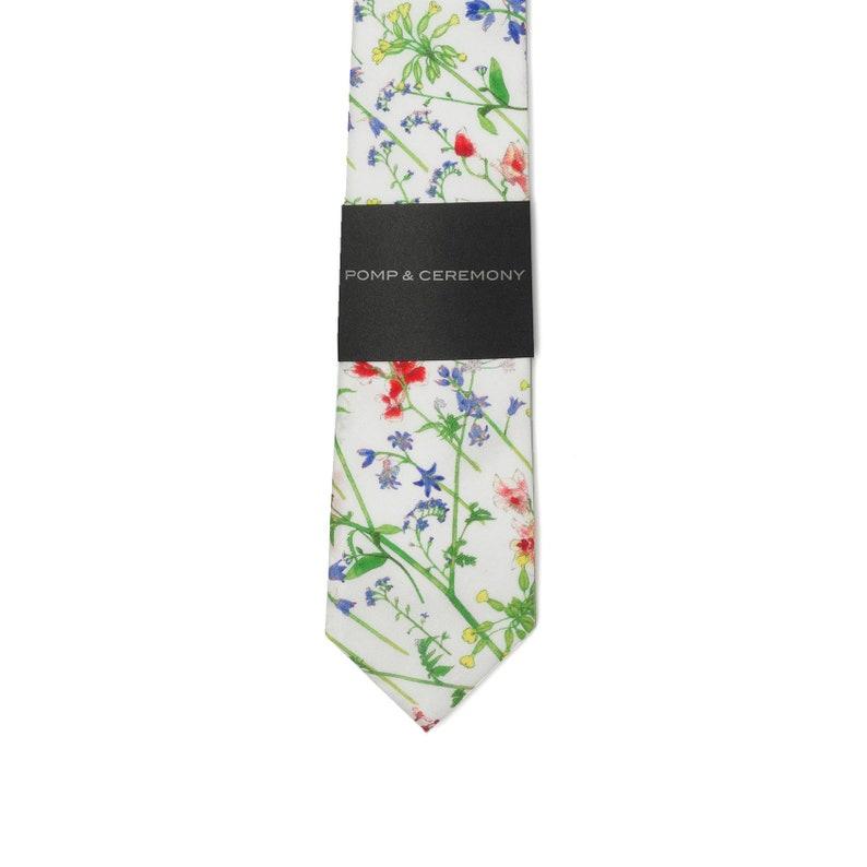 Theadora Mens tie Groomsmen gift cornflower Liberty print red white cotton tie Liberty of London cotton floral green Grooms tie