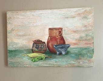 Mid Century Modern Original Still Life Painting - Signed and Dated