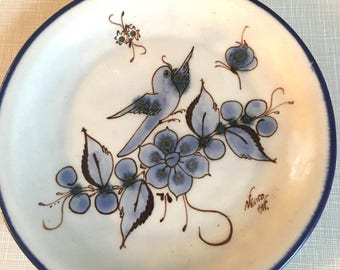 Vintage Hand Painted Mexican Pottery Plate