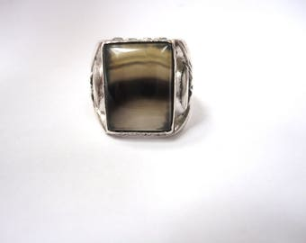 Deco Moss Agate Sterling Ring - Size 10.75