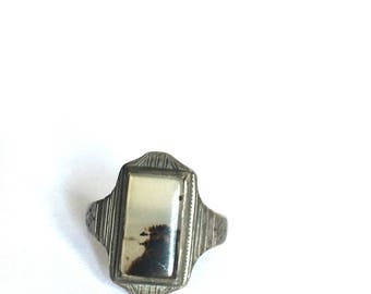 Deco Moss Agate Sterling Ring - Size 8.5