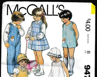 McCall's 9477 Toddlers and Childrens Jumper, Jumpsuit, Hat, Stuffed Toys