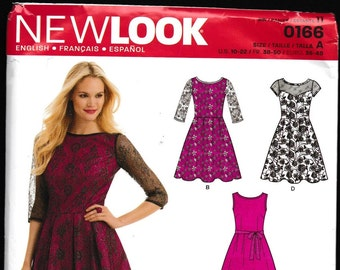 New Look 0166 Misses Semi Fitted Bodice with Flared Skirt
