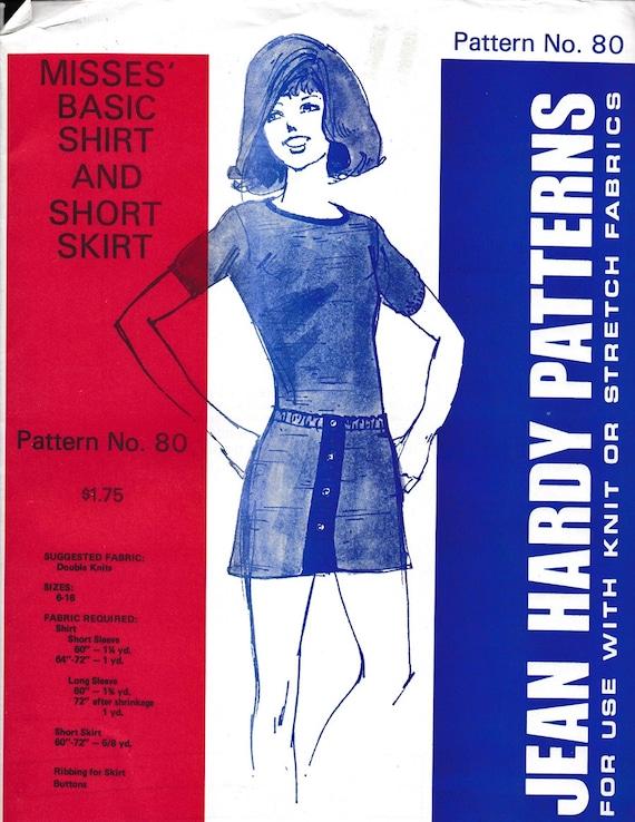 Misses Basic Shirt And Short Skirt Jean Hardy Patternsfor Etsy