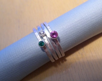 Emerald, Diamond and Pink Sapphire Stacking Ring Set Sz 7