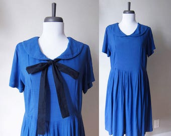 Vintage 1950s Dress / Peter Pan Collar Bright Blue Fit and Flare Dress / Size Large