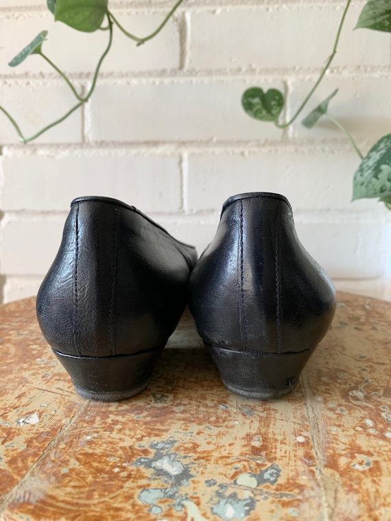 Vintage 1980s Shoes / Navy Blue Leather Ballet Fl… - image 4