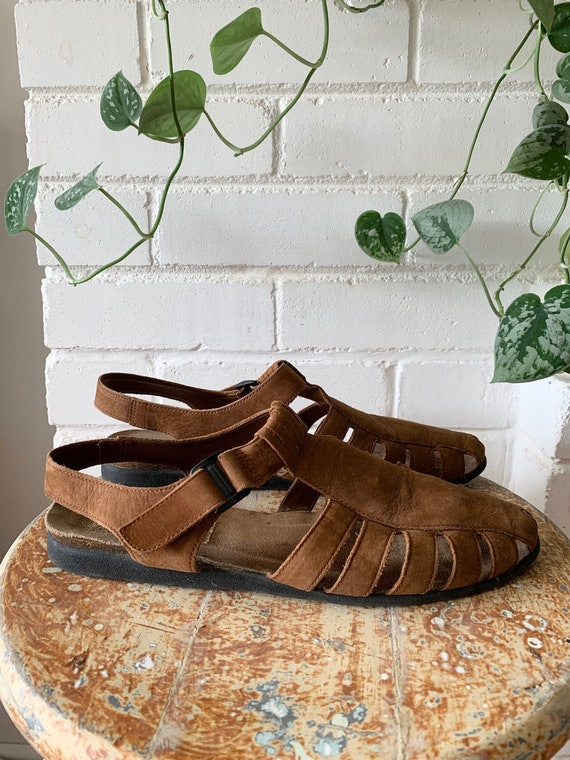 Vintage 1990s Shoes / Brown Nubuck Fisherman Sand… - image 5