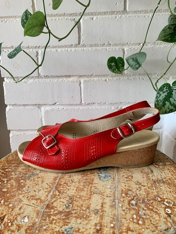 Vintage Shoes / Worishofer Red Leather Cork Wedge