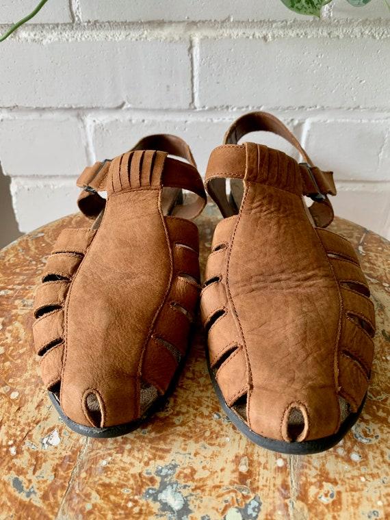 Vintage 1990s Shoes / Brown Nubuck Fisherman Sand… - image 3