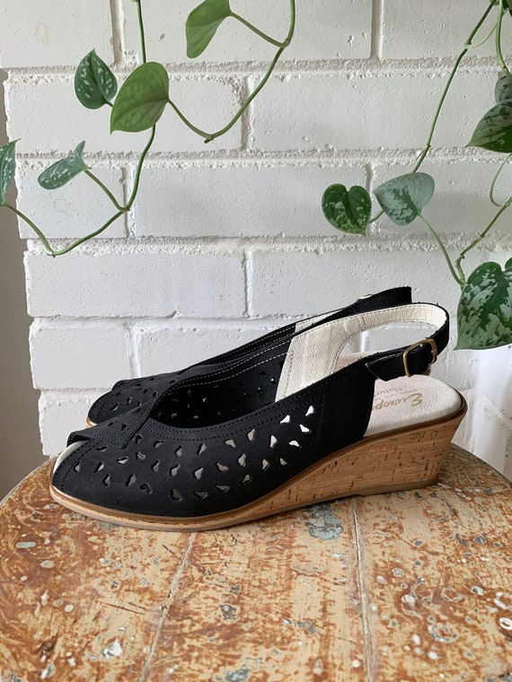 Vintage Shoes / Black Nubuck and Cork Wedge Perfor