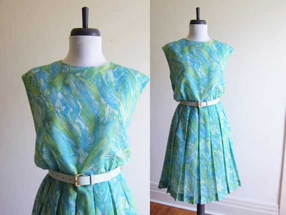 Vintage 1960s Dress / MARBLE Watercolour Print Ple