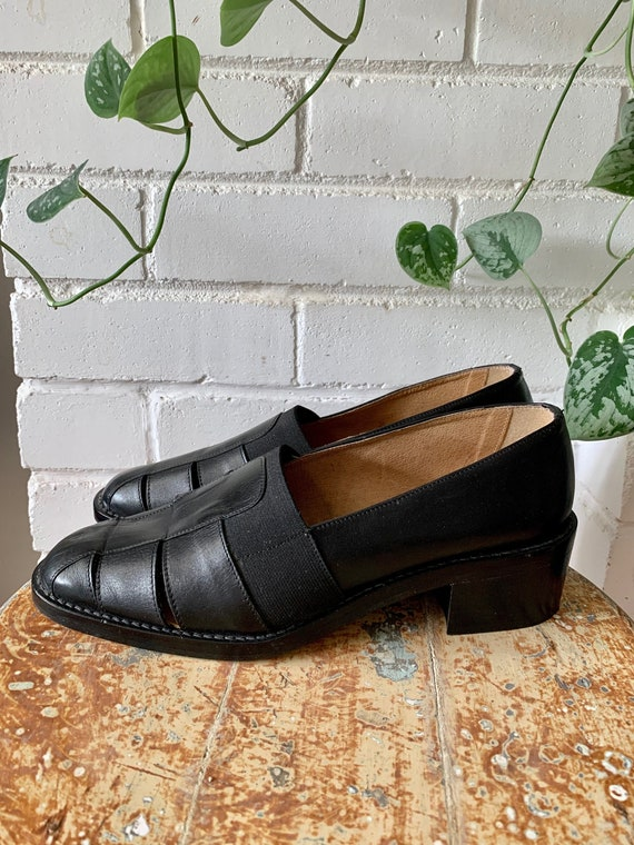 Vintage 1990s Boots / Chunky Block Heel Loafers wi