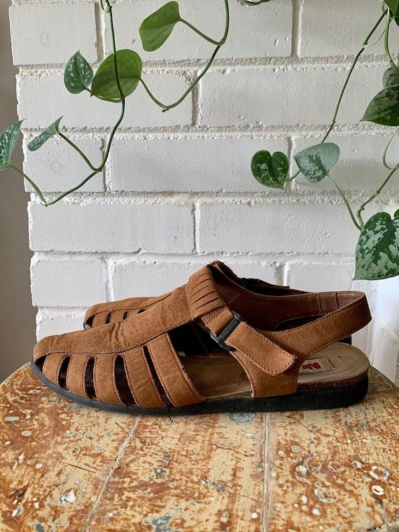 Vintage 1990s Shoes / Brown Nubuck Fisherman Sand… - image 1