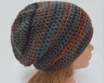 womens slouch hat girls slouch hat landscape browns teal copper rust youth to adult 6010