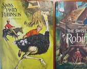 2 Vintage Swiss Family Robinson Books Johann Wyss 1968 full 1974 adapted version hard cover book black, white, color illustrations