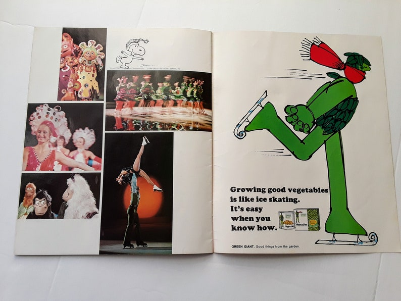 1972 Holiday on Ice Program  Snoopy /& Olympic ice skating showcases  great vintage ads and photos  collectible magazine  old paper book