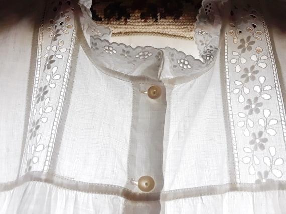 Antique Cotton Nightgown Eyelet Trim