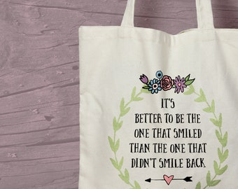 Positivity Quote Printed Cotton Tote Bag - Eco Friendly - Mindfulness Gift Idea