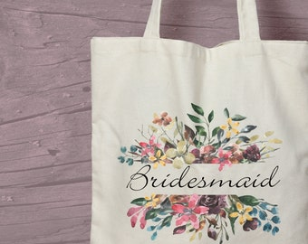 Floral Bridesmaid Printed Cotton Tote / Shopping Bag Keepsake Gift -  Perfect for tasteful Hen Parties.
