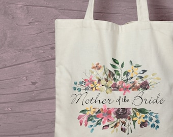Floral Mother of the Bride Printed Cotton Tote / Shopping Bag Keepsake Gift -  Perfect for tasteful Hen Parties / Weekends