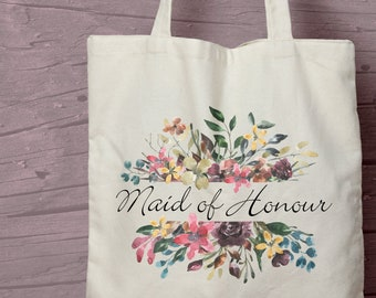 Floral Maid of Honour Printed Cotton Tote / Shopping Bag Keepsake Gift -  Perfect for tasteful Hen Parties.