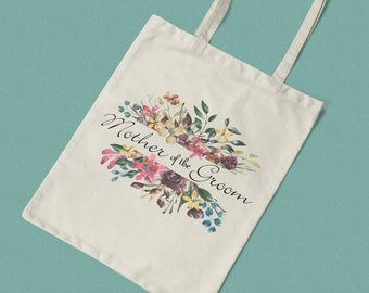 Floral Mother of the Groom Printed Cotton Tote / Shopping Bag Keepsake Gift -  Perfect for tasteful Hen Parties / Weekends