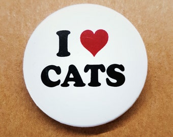 Cat Lover 38mm Badge - I Love Cats Pinback Button Pin