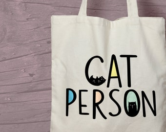 Illustrated Cat Person Tote Bag - Crazy Cat Lady / Man gift idea.