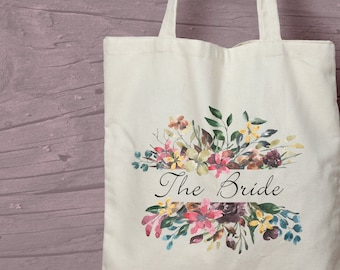 Floral The Bride Printed Cotton Tote / Shopping Bag Wedding Keepsake -  Perfect for tasteful Hen Parties.