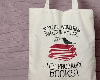 Book Lovers Printed Cotton Tote / Shopping / Book Bag / Gift idea for an Avid Reader / Bookworm