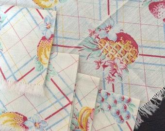 Vintage linen ...  retro kitsch set of 5 Cloth tea napkins   ...
