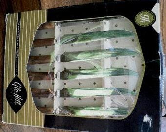 Vintage household kitsch ... set of 6 retro GloHill STEAK KNIVES   ...