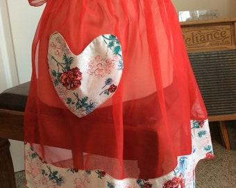 vintage apron ... RED SHEER stunning VINTAGE  Apron  ...