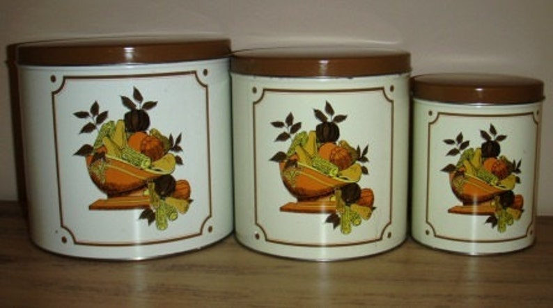 vintage tinware ... set of THREE Golden HARVEST CANISTER Set image 0