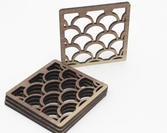 Groovy Art Deco Black Walnut Wood Coasters - Set of 4 - Set a Modern Tone in Your Living Room or Bar - Made in the USA!