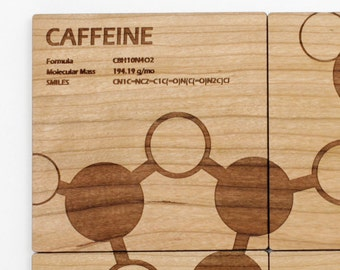 Caffeine Molecule Coasters - Gift idea for the Science/Chemistry Fanatic. Sustainable Forestry Products Made in the USA! It's Coffee Time!