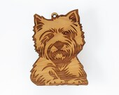 """West Highland Terrier / Westie Ornament from Timber Green Woods. Made in the U.S.A! - Cherry Wood (ornament """"Westie 'B'"""")"""