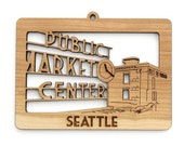 Seattle Public Market Ornament - from Timber Green Woods. Sustainable Harvest Wood. Made in the USA!