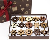 Reduced Price!  Mini Snowflake Ornaments - Gift Box Set of 15 . Timber Green Woods - USA.