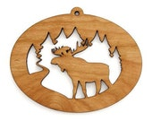 Northwoods Moose Ornament  - Made in the USA with sustainably harvested wood! - Timber Green Woods.
