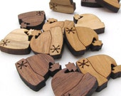"""Winter Hat Christmas Holiday Charms - .75"""" - Pack of 15 - Itsies - Laser Cut Wood - Mixed Wood Variety -  Timber Green Woods, USA"""